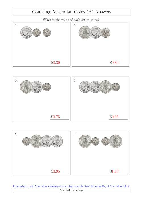 The Counting Small Collections of Australian Coins Without Dollar Coins (All) Math Worksheet Page 2