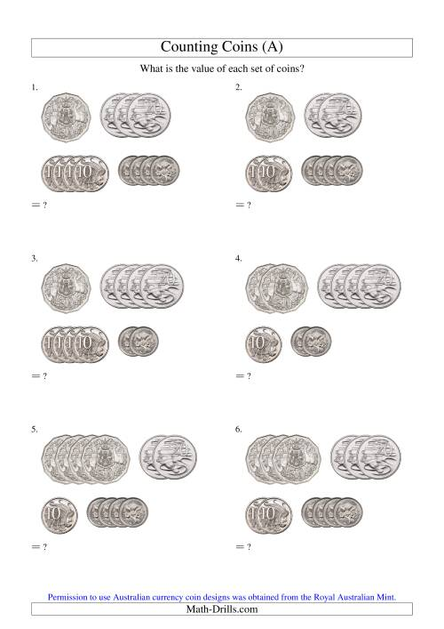 The Counting Small Collections of Australian Coins (No Dollar Coins) (Old) Math Worksheet