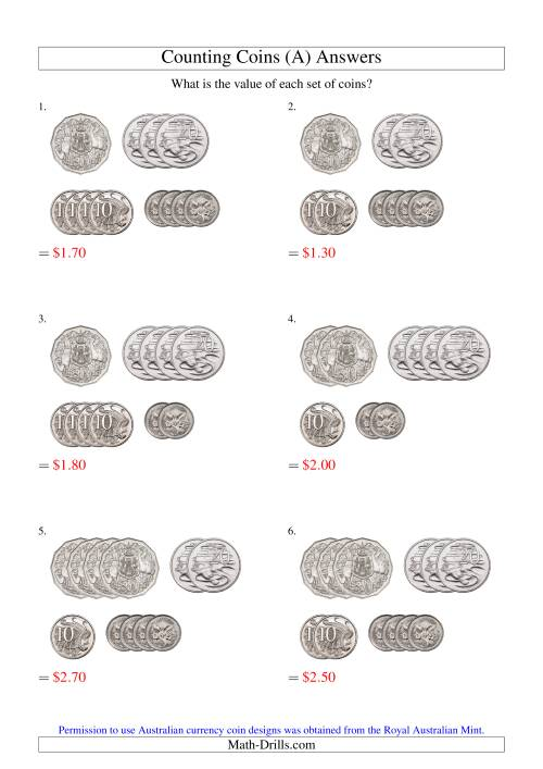 The Counting Small Collections of Australian Coins (No Dollar Coins) (Old) Math Worksheet Page 2