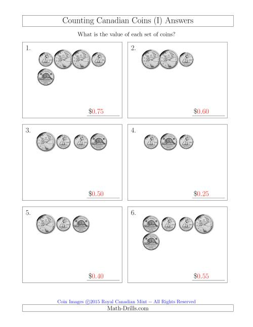 The Counting Small Collections of Canadian Coins Without Dollar Coins (I) Math Worksheet Page 2