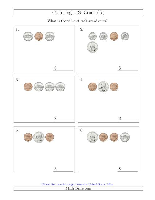 The Counting Small Collections of U.S. Coins (A) Math Worksheet