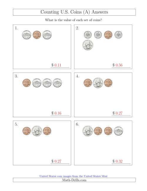 The Counting Small Collections of U.S. Coins (A) Math Worksheet Page 2