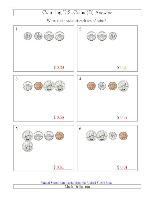 The Counting Small Collections of U.S. Coins (B) Math Worksheet Page 2