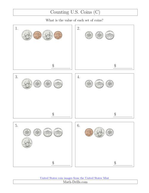 The Counting Small Collections of U.S. Coins (C) Math Worksheet