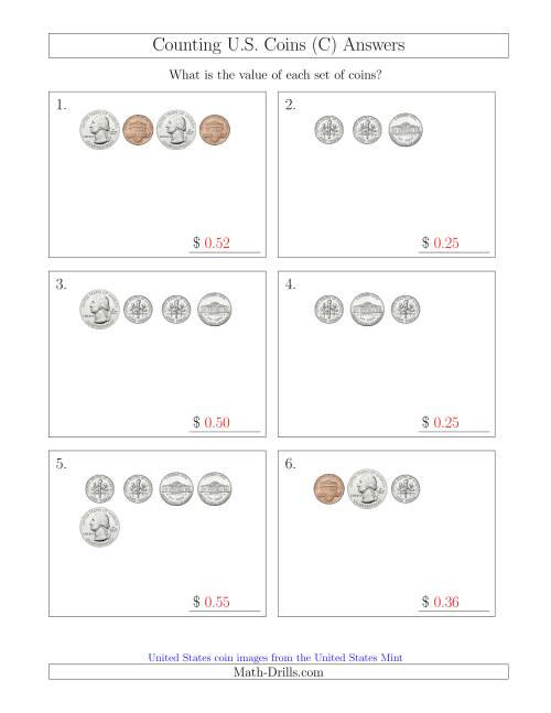 The Counting Small Collections of U.S. Coins (C) Math Worksheet Page 2