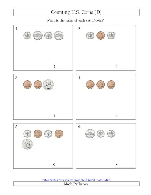 The Counting Small Collections of U.S. Coins (D) Math Worksheet