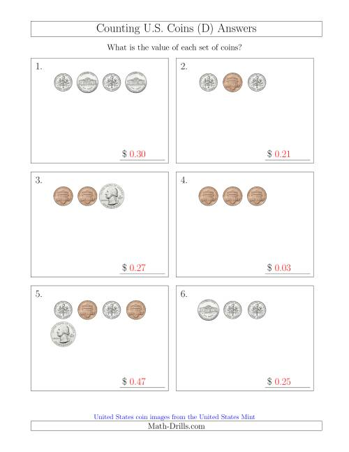 The Counting Small Collections of U.S. Coins (D) Math Worksheet Page 2
