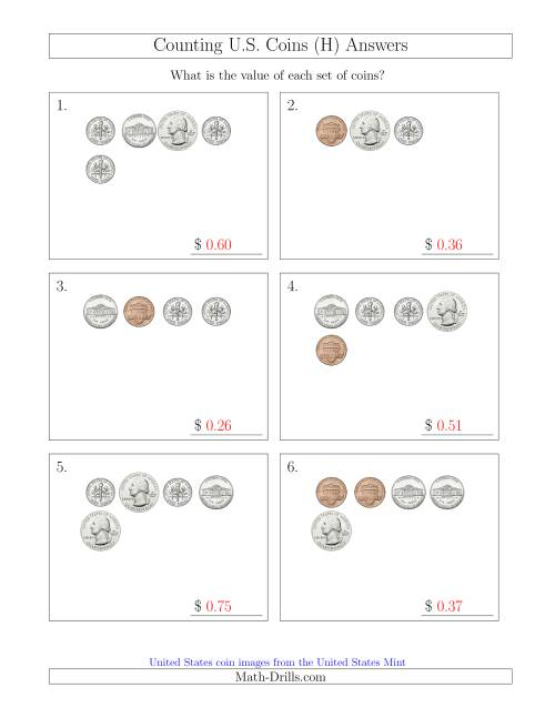 The Counting Small Collections of U.S. Coins (H) Math Worksheet Page 2