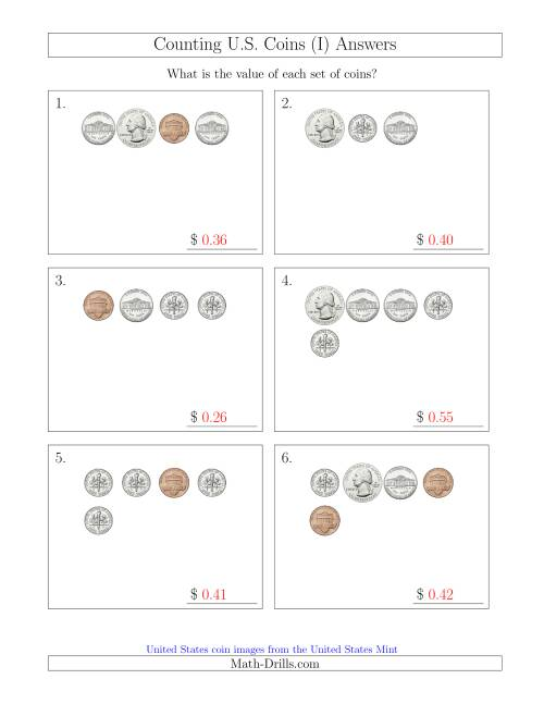 The Counting Small Collections of U.S. Coins (I) Math Worksheet Page 2