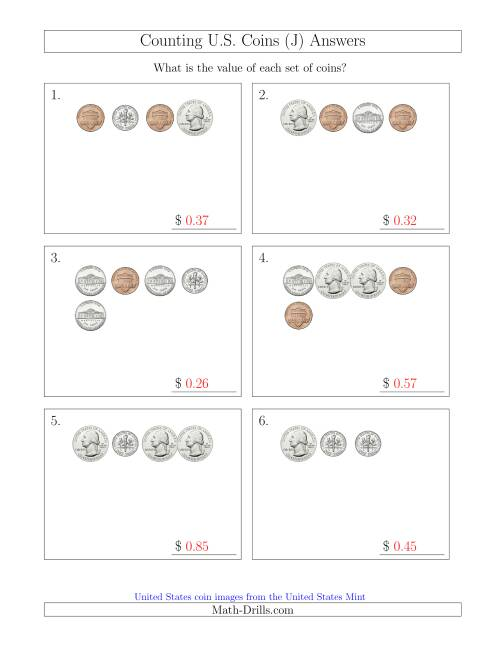 The Counting Small Collections of U.S. Coins (J) Math Worksheet Page 2