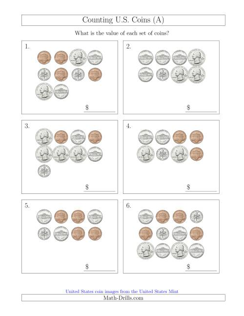 Counting U.S. Coins (A) Money Worksheet