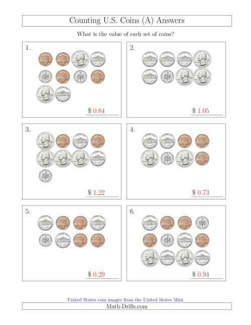 The Counting U.S. Coins (A) Math Worksheet Page 2