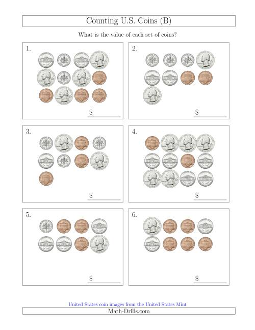The Counting U.S. Coins (B) Math Worksheet