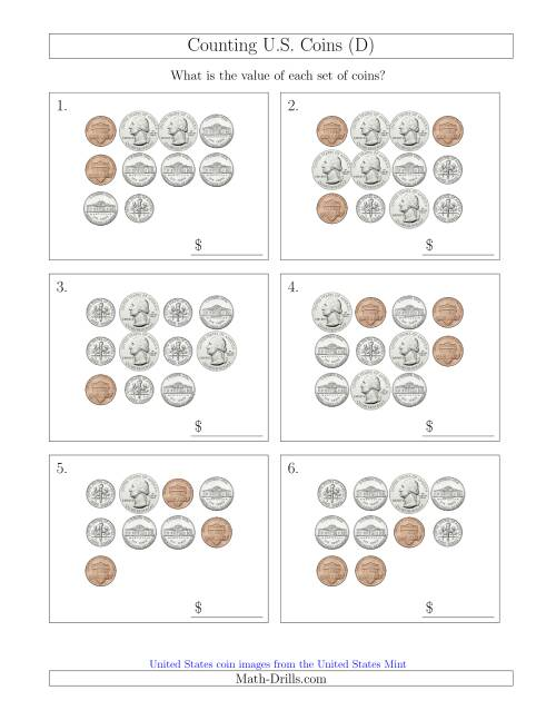 The Counting U.S. Coins (D) Math Worksheet