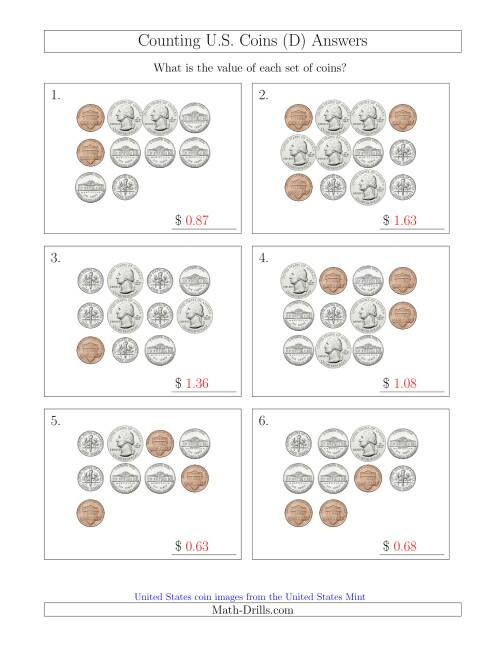 The Counting U.S. Coins (D) Math Worksheet Page 2