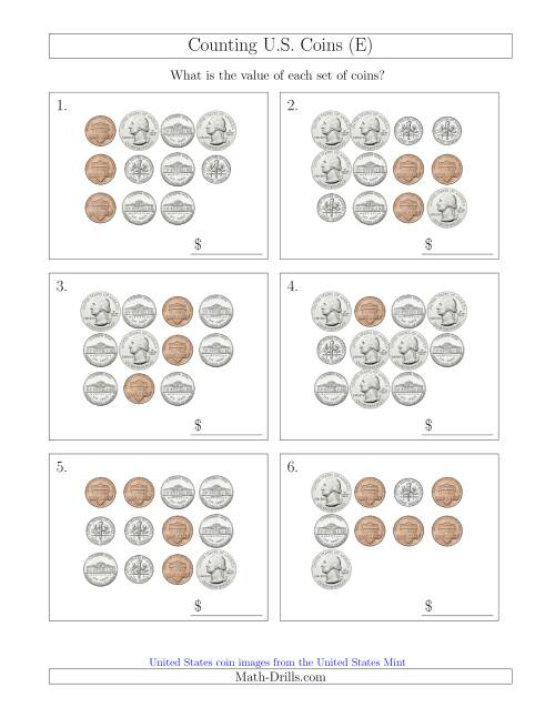 The Counting U.S. Coins (E) Math Worksheet