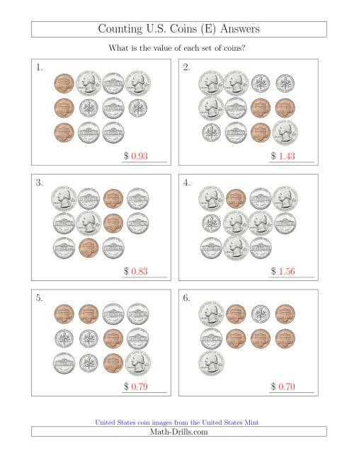 The Counting U.S. Coins (E) Math Worksheet Page 2