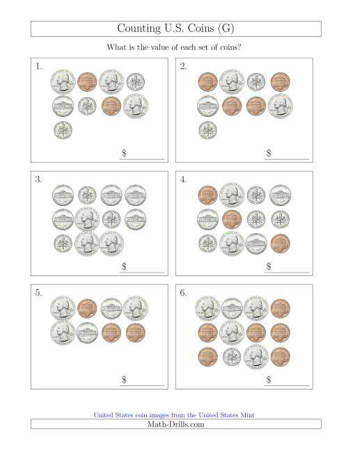 The Counting U.S. Coins (G) Math Worksheet