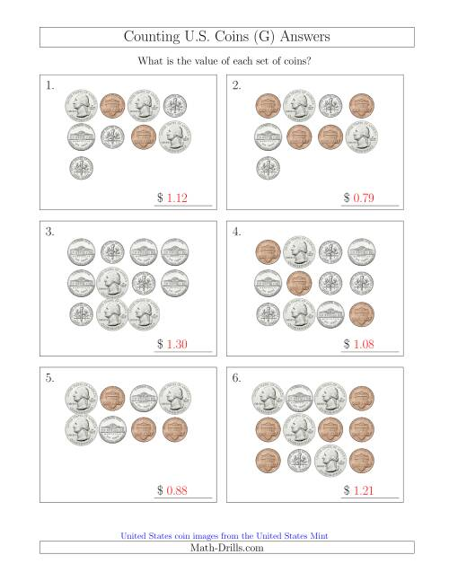 The Counting U.S. Coins (G) Math Worksheet Page 2