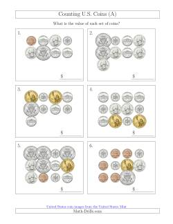 Counting U.S. Coins Including Half and One Dollar Coins