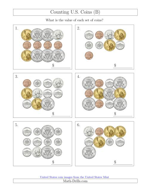 The Counting U.S. Coins Including Half and One Dollar Coins (B) Math Worksheet