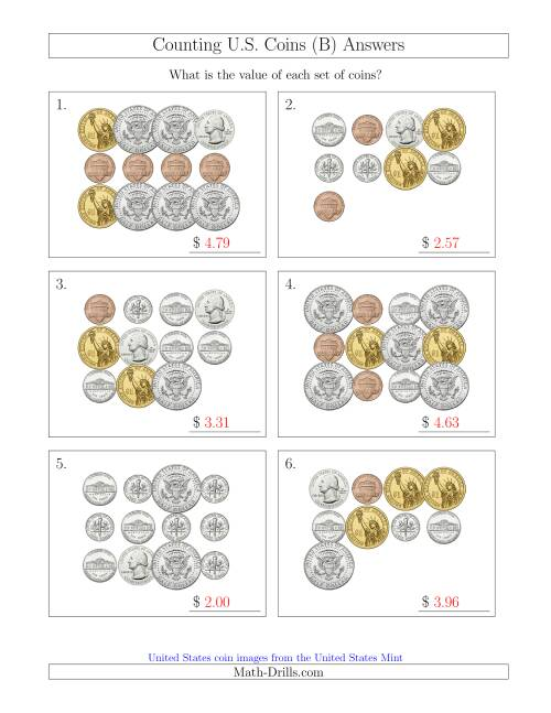 The Counting U.S. Coins Including Half and One Dollar Coins (B) Math Worksheet Page 2
