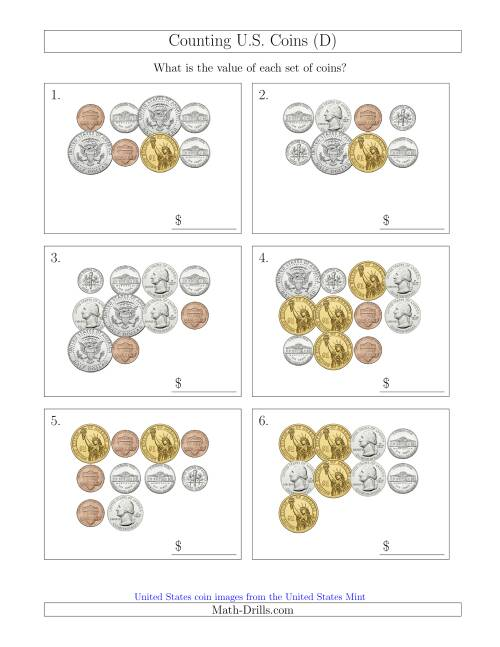 The Counting U.S. Coins Including Half and One Dollar Coins (D) Math Worksheet