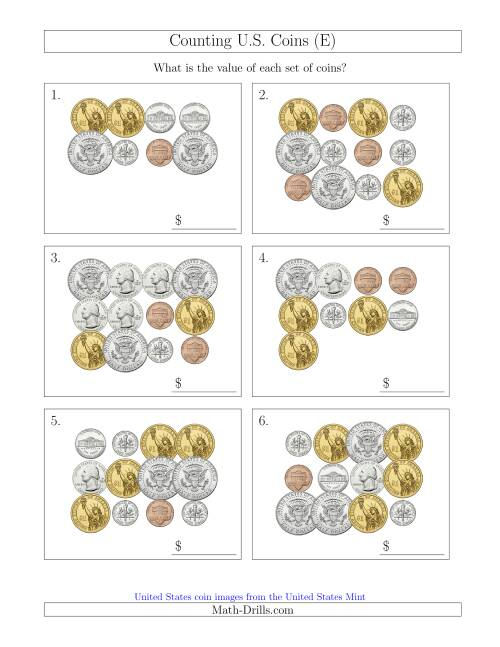 The Counting U.S. Coins Including Half and One Dollar Coins (E) Math Worksheet