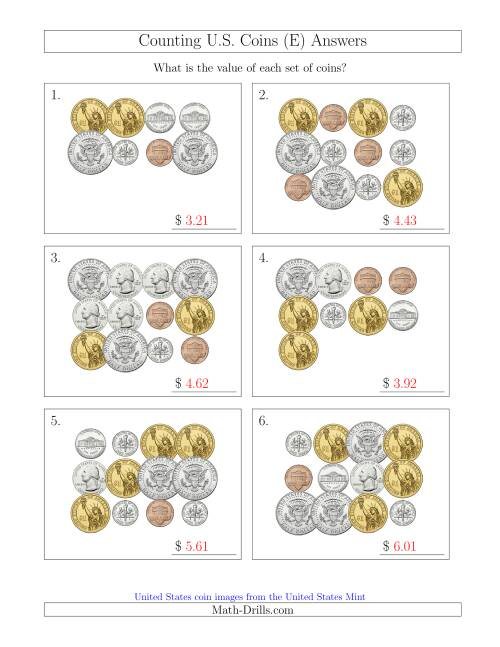 The Counting U.S. Coins Including Half and One Dollar Coins (E) Math Worksheet Page 2