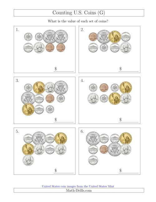 The Counting U.S. Coins Including Half and One Dollar Coins (G) Math Worksheet