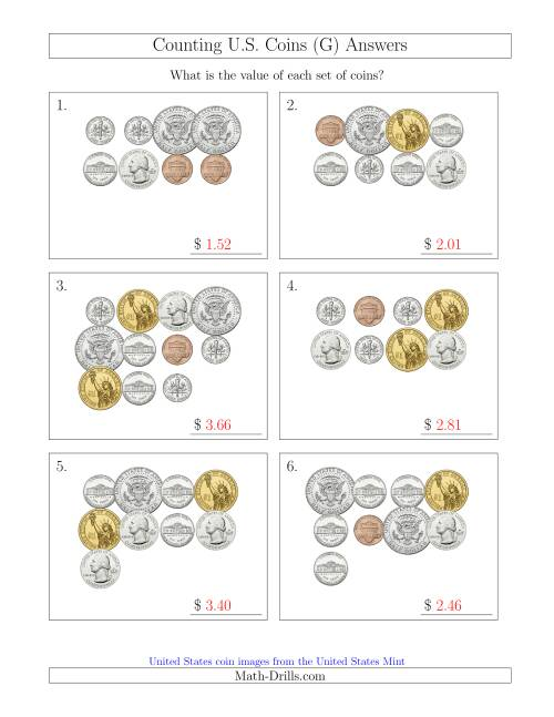 The Counting U.S. Coins Including Half and One Dollar Coins (G) Math Worksheet Page 2