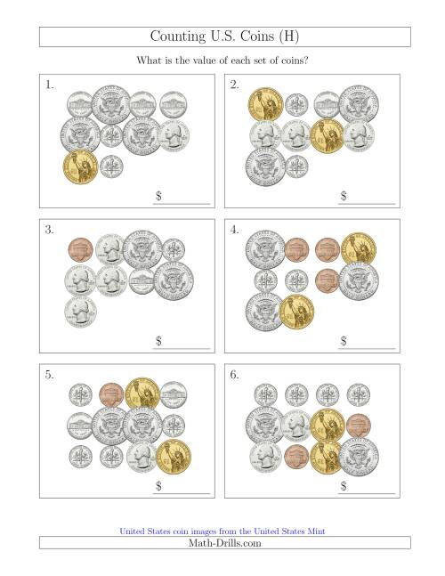 The Counting U.S. Coins Including Half and One Dollar Coins (H) Math Worksheet
