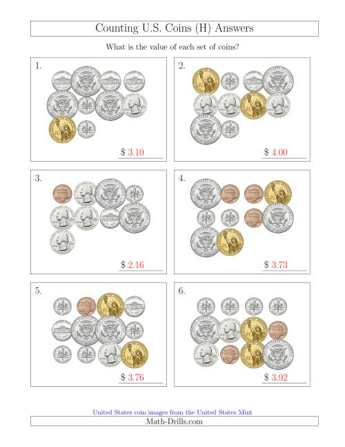 The Counting U.S. Coins Including Half and One Dollar Coins (H) Math Worksheet Page 2