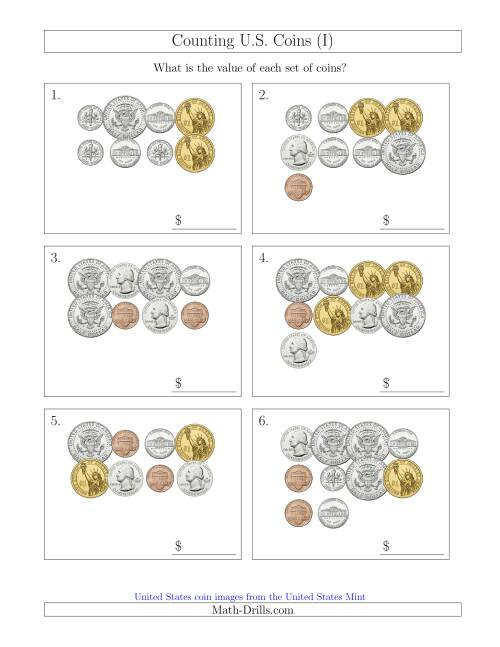 The Counting U.S. Coins Including Half and One Dollar Coins (I) Math Worksheet
