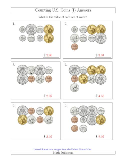 The Counting U.S. Coins Including Half and One Dollar Coins (I) Math Worksheet Page 2