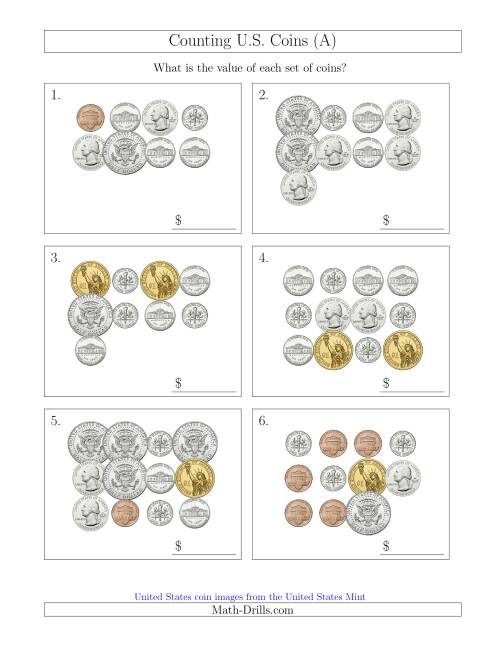 The Counting U.S. Coins Including Half and One Dollar Coins (All) Math Worksheet