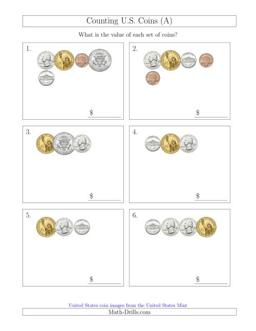 The Counting Small Collections of U.S. Coins Including Half and One Dollar Coins (A) Math Worksheet