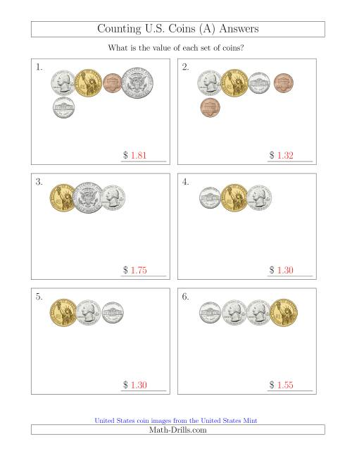 The Counting Small Collections of U.S. Coins Including Half and One Dollar Coins (A) Math Worksheet Page 2