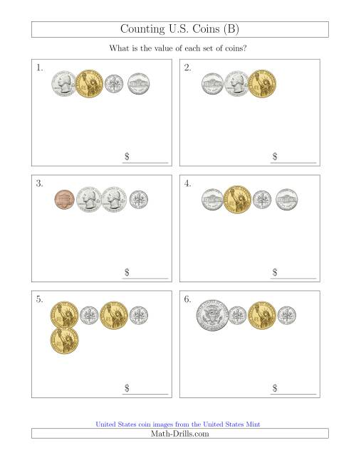 The Counting Small Collections of U.S. Coins Including Half and One Dollar Coins (B) Math Worksheet