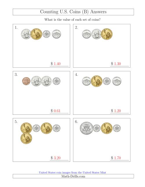 The Counting Small Collections of U.S. Coins Including Half and One Dollar Coins (B) Math Worksheet Page 2
