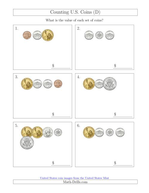 The Counting Small Collections of U.S. Coins Including Half and One Dollar Coins (D) Math Worksheet