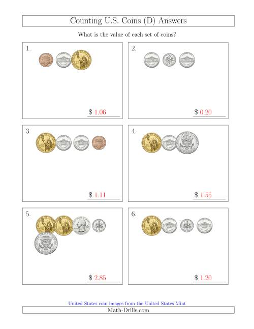 The Counting Small Collections of U.S. Coins Including Half and One Dollar Coins (D) Math Worksheet Page 2