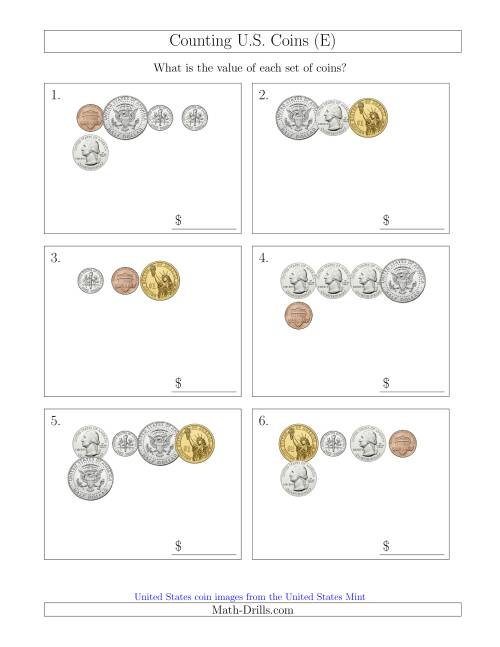 The Counting Small Collections of U.S. Coins Including Half and One Dollar Coins (E) Math Worksheet