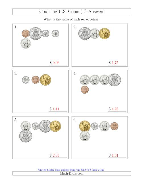 The Counting Small Collections of U.S. Coins Including Half and One Dollar Coins (E) Math Worksheet Page 2
