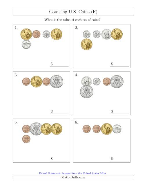 The Counting Small Collections of U.S. Coins Including Half and One Dollar Coins (F) Math Worksheet
