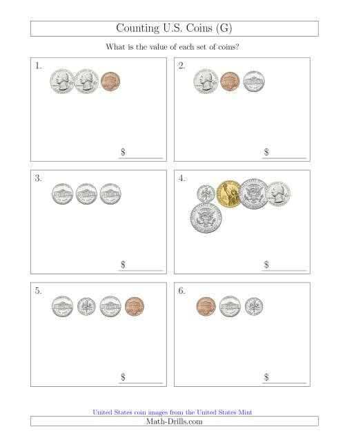 The Counting Small Collections of U.S. Coins Including Half and One Dollar Coins (G) Math Worksheet