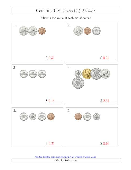 The Counting Small Collections of U.S. Coins Including Half and One Dollar Coins (G) Math Worksheet Page 2