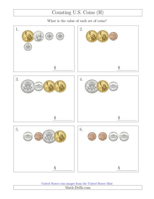 The Counting Small Collections of U.S. Coins Including Half and One Dollar Coins (H) Math Worksheet