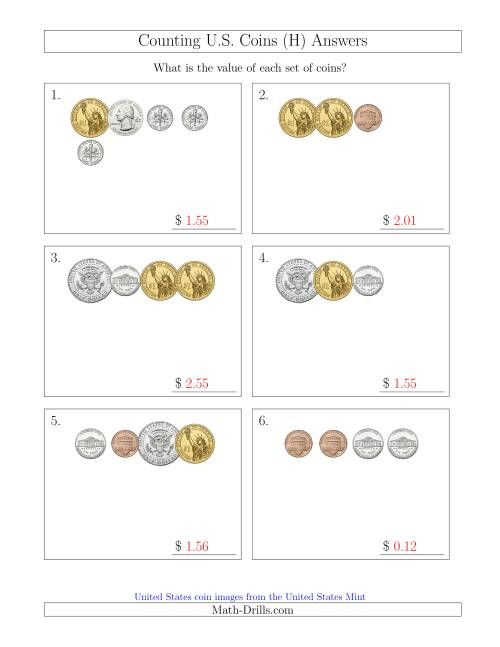 The Counting Small Collections of U.S. Coins Including Half and One Dollar Coins (H) Math Worksheet Page 2