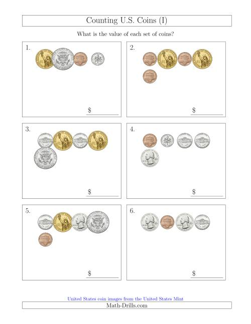The Counting Small Collections of U.S. Coins Including Half and One Dollar Coins (I) Math Worksheet
